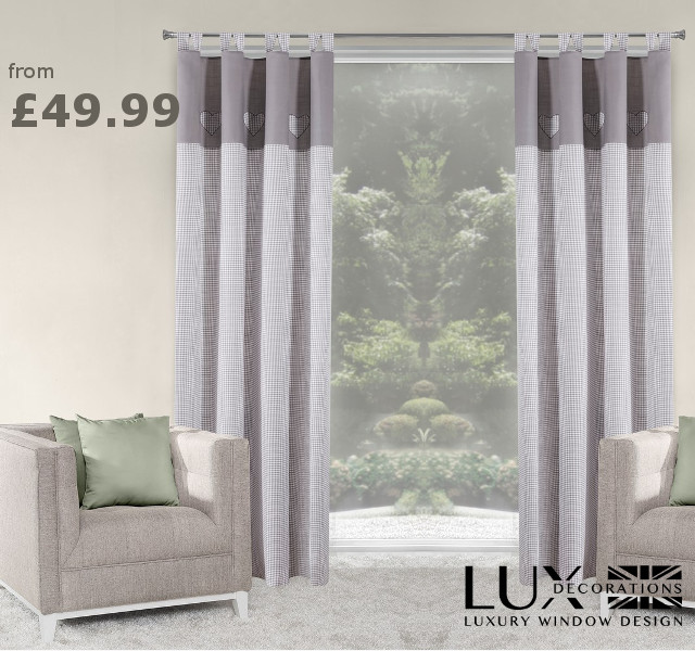 New in:  grey & white heart-design curtains