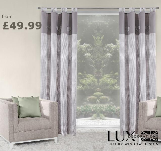 grey heart curtains