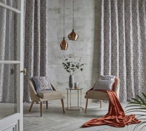 classic gray curtains volie with guipure pattern