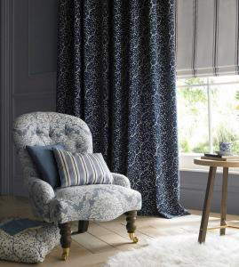 dark blue curtain with dotted pattern
