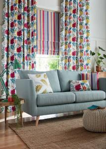 white curtain with colorful leaf pattern